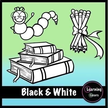 September Clipart - Black & White, Color, Glitter!