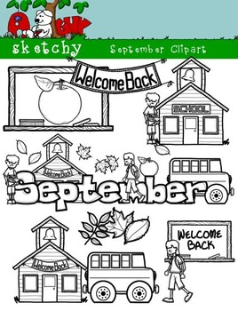 September Clipart / Graphics and Monthly Header 300dpi Color, Gray scale, BW