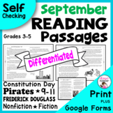 Reading Comprehension Passages and Questions / September / 9-11