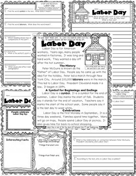September Passages w/ CCSS Text Based Questions Close Reading Weekly Homework