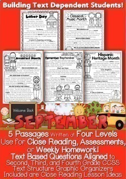 September Passages w/ CCSS Text Based Questions Close Read