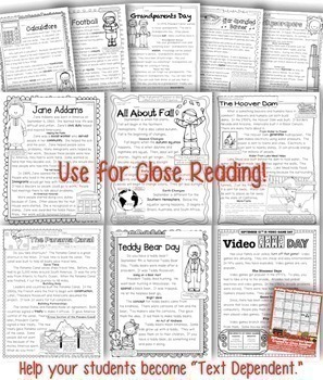 September Close Reading Passages: Common Core Aligned Text Evidence Questions