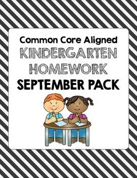 September Common Core Kindergarten Homework
