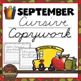 September Cursive Copywork Handwriting Practice