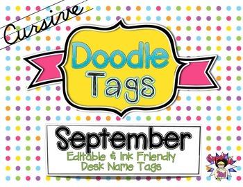 September Cursive Doodle Tags - Ink Friendly Editable Desk