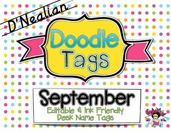 September D'Nealian Doodle Tags - Ink Friendly Editable Desk Name Tags