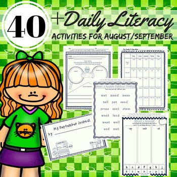 Literacy Activities 2nd Grade August/September Reading, Writing