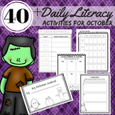 Reading, Writing, Word Work Station Activities for October