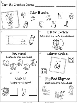 Homework:  Kindergarten September Packet (Differentiated Back to School)