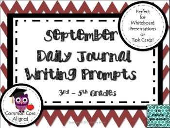 September Daily Journal Writing Prompts for Whiteboard Presentation or Task Card