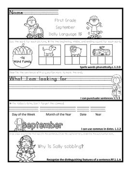 Common Core Daily Language for First Grade September