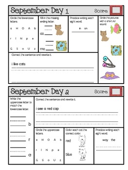 September Daily Language Arts, Phonics, and Grammar for 1st Grade