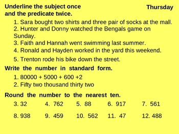 September Daily Language and Math Review for Third Grade