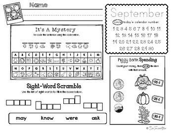 September Daily Literacy & Math Morning Work {Kindergarten & First Grade}
