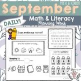 September Daily Literacy & Math Morning Work {Pre-K & Kind
