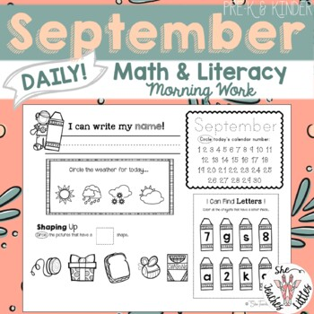 September Daily Literacy & Math Morning Work {Pre-K & Kind