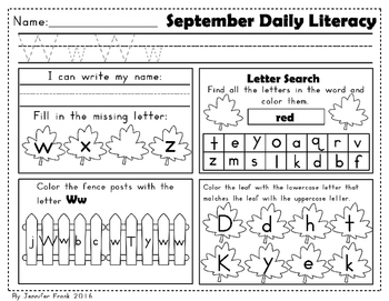 September Daily Literacy Packet