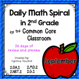 September Daily Math Spiral for 2nd grade (Common Core)