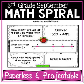 September Daily Math Spiral For 3rd Grade Common Core No Prep Tpt