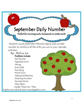 Daily Number-September 2nd Grade-Activities to Reinforce Math Skills