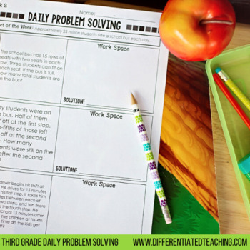 Daily Problem Solving for 3rd Grade: September Word Problems