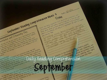 September Daily Reading Comprehension