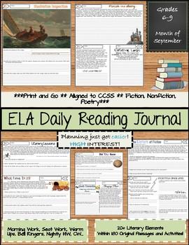September Daily Reading Morning Work ELA Bell Ringers