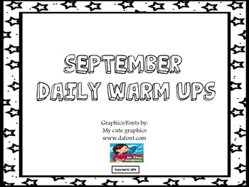 September Daily Warm Ups for Kindergarten