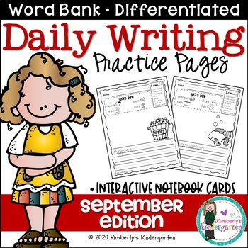 Daily Writing Journal Pages for Beginning Writers: September Edition. K or 1st.