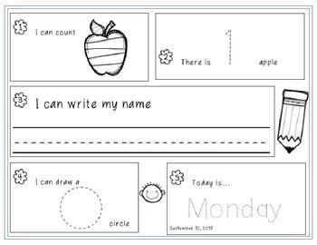 September-December 2018 Kindergarten Morning Work