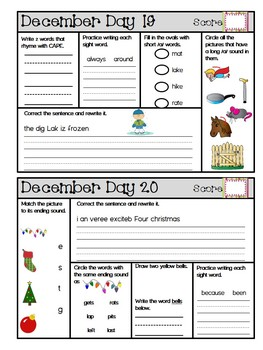 September-December Daily Language Arts, Phonics, and Grammar Bundle -1st Grade