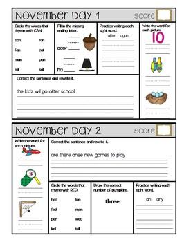 September-December Daily Language Arts, Phonics, and Gramm
