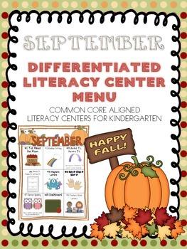 September Differentiated Literacy Center Word Work Menu (C
