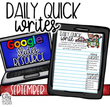 September Digital Daily Quick Writes use with Google Slides