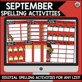 September Digital Spelling Activities for Word Work