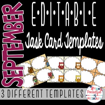September EDITABLE Task Card TEMPLATES