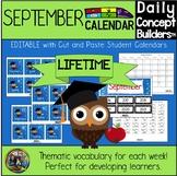 September Vocabulary Calendar for Kindergarten and First Grade Distance Learning