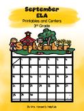 September ELA Printables and Centers Grade 3