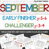 September Early Finisher or Challenger Activity Packet Grades 3-6