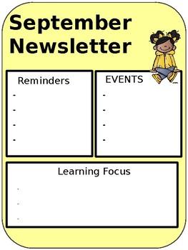 September Editable Newsletter
