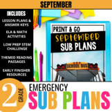 September Emergency Sub Plans for 2nd Grade: Activities & Ready-to-go Lessons