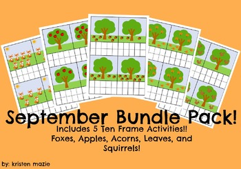 September FALL BUNDLE PACK Ten Frame Counting Activities