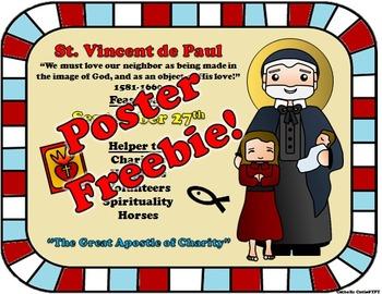 September Feast Day Catholic Saint Poster - Saint Vincent de Paul