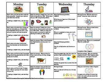 September Fifth Grade Homework Calendar