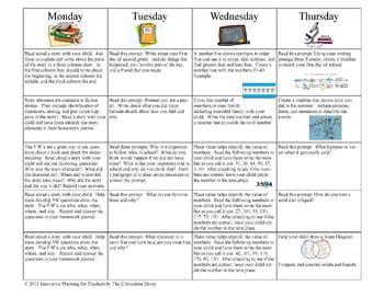 September Fifth Grade Homework Calendar Publisher Version