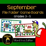 September File Folder Game Boards Word Study Edition Grades 3 - 5