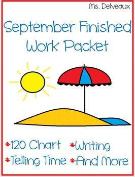 September Finished Work Packet - First Grade