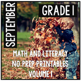 September First Grade Math and Literacy Packet NO PREP Common Core Aligned