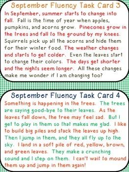 September Fluency Practice Cards