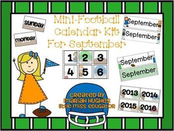 September Football Themed Mini-Calender Kit